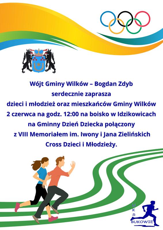 Plakat promujący VIII MEMORIAŁ im. Iwony i Jana Zielińskich w biegach przełajowych.