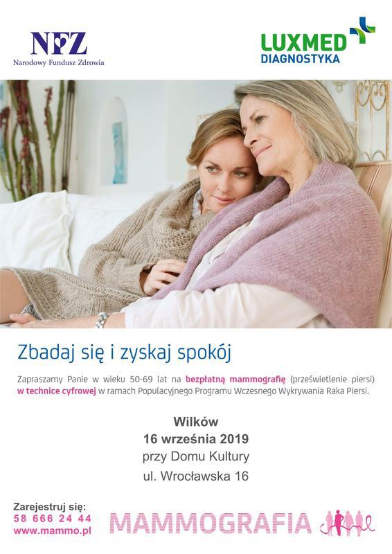 Plakat zapraszający na bezpłatne badania mammograficzne