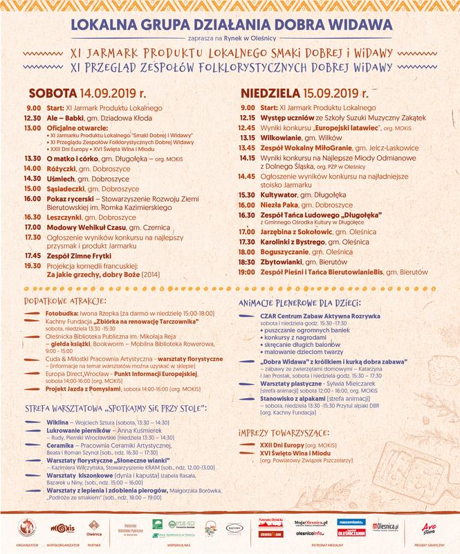 """Plakat XI Jarmarku Produktu Lokalnego """"Smaki Dobrej Widawy"""" oraz XI Przeglądu Zespołów Folklorystycznych Dobrej Widawy"""