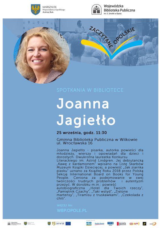 Plakat informujący o spotkaniu autorskim  z Joanną Jagiełło