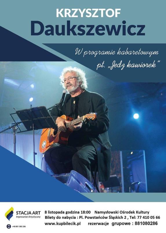 Plakat zapraszający na program kabaretowy Krzysztofa Daukszewicza - 8 listopada 2019 r.